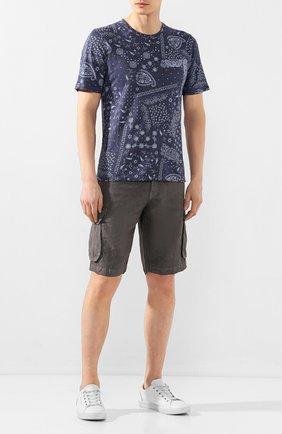 Мужская льняная футболка 120% LINO темно-синего цвета, арт. R0M7186/F813/S00 | Фото 2