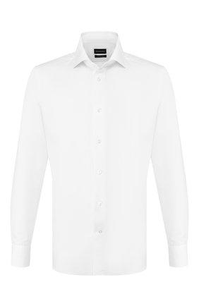 Мужская сорочка из смеси хлопка и льна ERMENEGILDO ZEGNA белого цвета, арт. 701427/9MS0BA | Фото 1