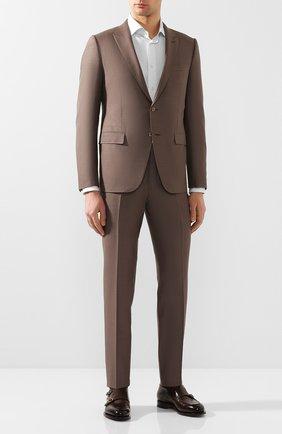 Мужской костюм из смеси шелка и шерсти ERMENEGILDO ZEGNA коричневого цвета, арт. 716073/21CSA7 | Фото 1