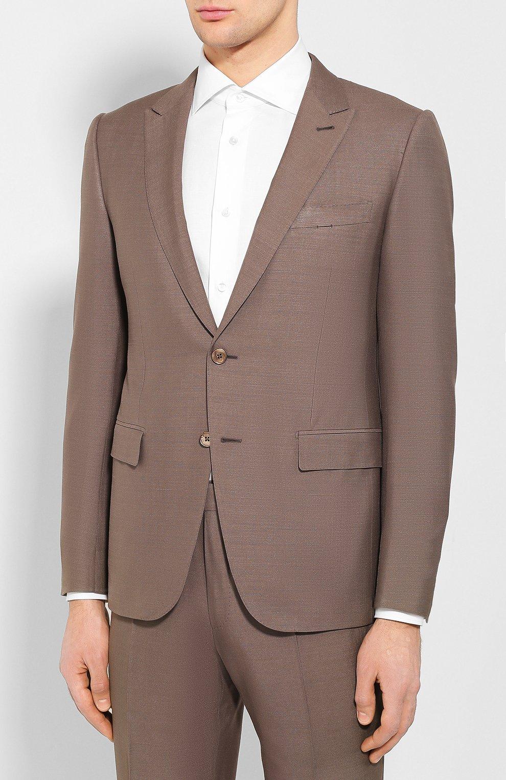 Мужской костюм из смеси шелка и шерсти ERMENEGILDO ZEGNA коричневого цвета, арт. 716073/21CSA7 | Фото 2
