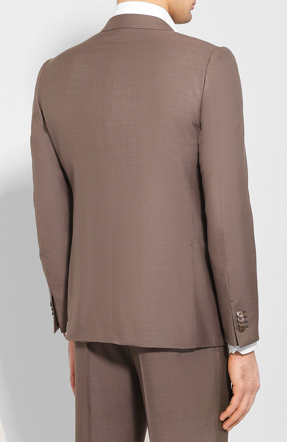Мужской костюм из смеси шелка и шерсти ERMENEGILDO ZEGNA коричневого цвета, арт. 716073/21CSA7 | Фото 3