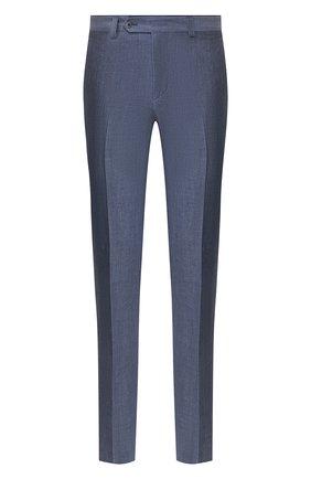 Мужской брюки из смеси льна и шерсти LUCIANO BARBERA синего цвета, арт. 114014/45086 | Фото 1