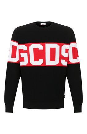 Мужской хлопковый свитер GCDS черного цвета, арт. CC94M021104 | Фото 1