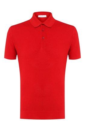 Мужское хлопковое поло CRUCIANI красного цвета, арт. CU25.403   Фото 1 (Рукава: Короткие; Материал внешний: Хлопок; Длина (для топов): Стандартные; Застежка: Пуговицы)