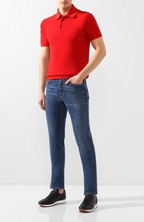 Мужское хлопковое поло CRUCIANI красного цвета, арт. CU25.403   Фото 2 (Рукава: Короткие; Материал внешний: Хлопок; Длина (для топов): Стандартные; Застежка: Пуговицы)