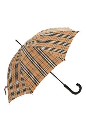 Мужской зонт-трость BURBERRY бежевого цвета, арт. 8025464 | Фото 2 (Материал: Текстиль, Синтетический материал)