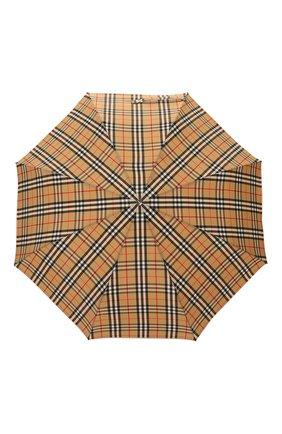 Мужской складной зонт BURBERRY бежевого цвета, арт. 8024782 | Фото 1 (Материал: Синтетический материал, Текстиль)