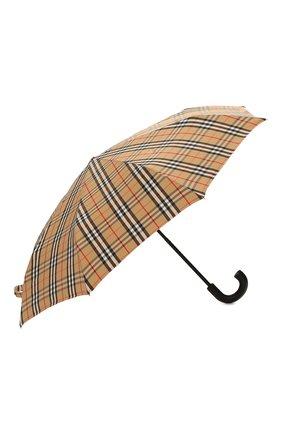 Мужской складной зонт BURBERRY бежевого цвета, арт. 8024782 | Фото 2 (Материал: Синтетический материал, Текстиль)