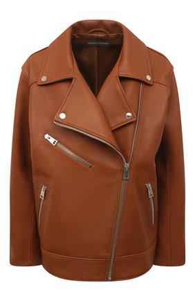 Женская кожаная куртка MASLOV коричневого цвета, арт. SMW101   Фото 1