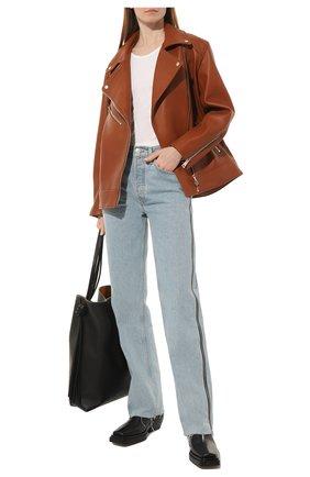 Женская кожаная куртка MASLOV коричневого цвета, арт. SMW101   Фото 2