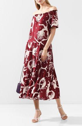 Женское платье-миди VALENTINO бордового цвета, арт. TB3MJ01L5AM | Фото 2 (Рукава: Короткие, С открытыми плечами; Длина Ж (юбки, платья, шорты): Миди; Материал внешний: Синтетический материал; Случай: Повседневный; Статус проверки: Проверена категория)