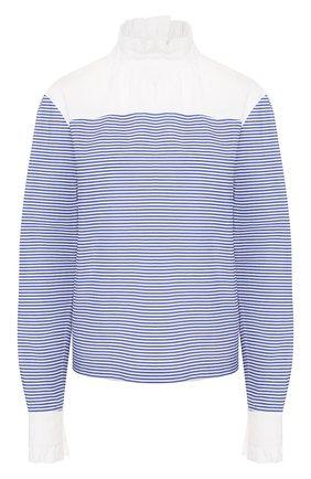 Женская хлопковая блузка PHILOSOPHY DI LORENZO SERAFINI голубого цвета, арт. A0216/736 | Фото 1