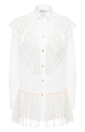 Женская хлопковая блузка REDVALENTINO белого цвета, арт. TR0ABD20/50K   Фото 1 (Материал внешний: Хлопок; Рукава: Длинные; Принт: Без принта; Женское Кросс-КТ: Блуза-одежда; Статус проверки: Проверена категория; Длина (для топов): Удлиненные)