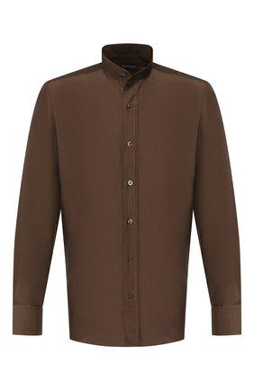 Мужская рубашка из смеси хлопка и шелка TOM FORD коричневого цвета, арт. 7FT594/94WGNH | Фото 1 (Рукава: Длинные; Длина (для топов): Стандартные; Материал внешний: Хлопок, Шелк; Случай: Повседневный; Воротник: Мандарин; Манжеты: На пуговицах; Мужское Кросс-КТ: Рубашка-одежда; Принт: Однотонные)