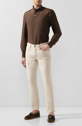 Мужская рубашка из смеси хлопка и шелка TOM FORD коричневого цвета, арт. 7FT594/94WGNH | Фото 2 (Рукава: Длинные; Длина (для топов): Стандартные; Материал внешний: Хлопок, Шелк; Случай: Повседневный; Воротник: Мандарин; Манжеты: На пуговицах; Мужское Кросс-КТ: Рубашка-одежда; Принт: Однотонные)