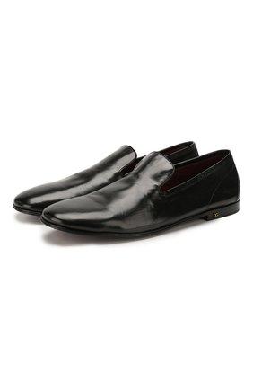Мужские кожаные лоферы DOLCE & GABBANA черного цвета, арт. A50352/AX199 | Фото 1