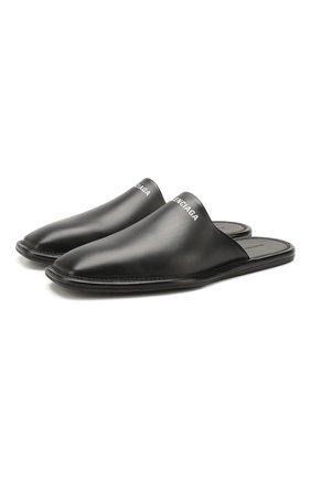 Мужские кожаные сабо BALENCIAGA черного цвета, арт. 607494/WA726 | Фото 1