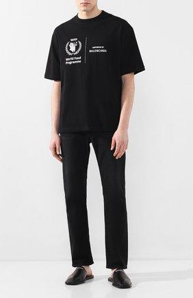 Мужские кожаные сабо BALENCIAGA черного цвета, арт. 607494/WA726 | Фото 2