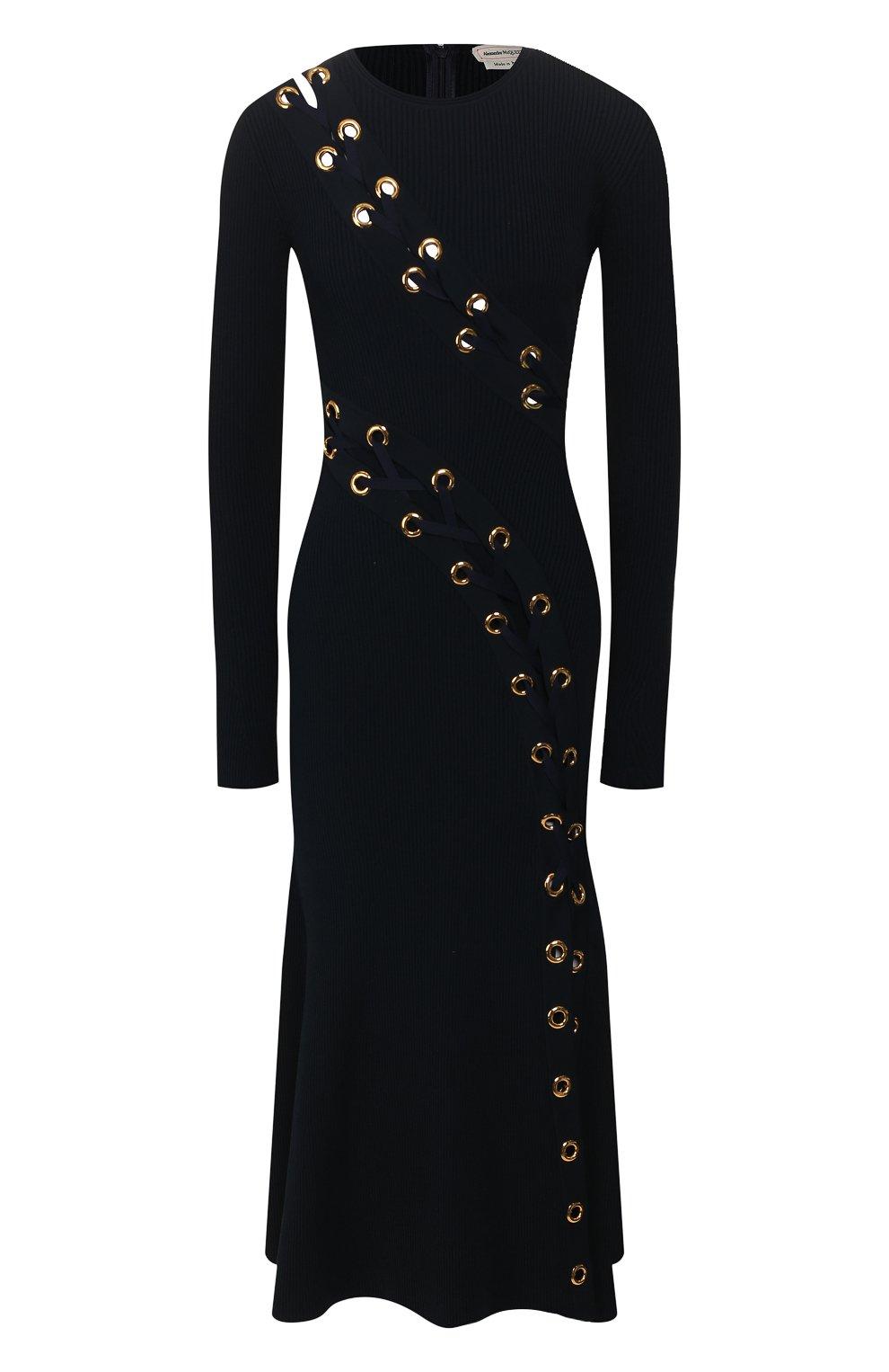 Женское платье ALEXANDER MCQUEEN темно-синего цвета, арт. 623579/Q1A0X | Фото 1