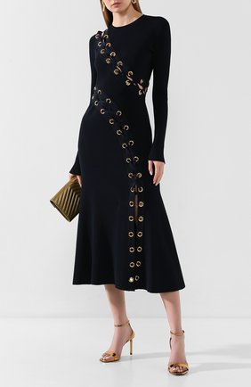 Женское платье ALEXANDER MCQUEEN темно-синего цвета, арт. 623579/Q1A0X | Фото 2