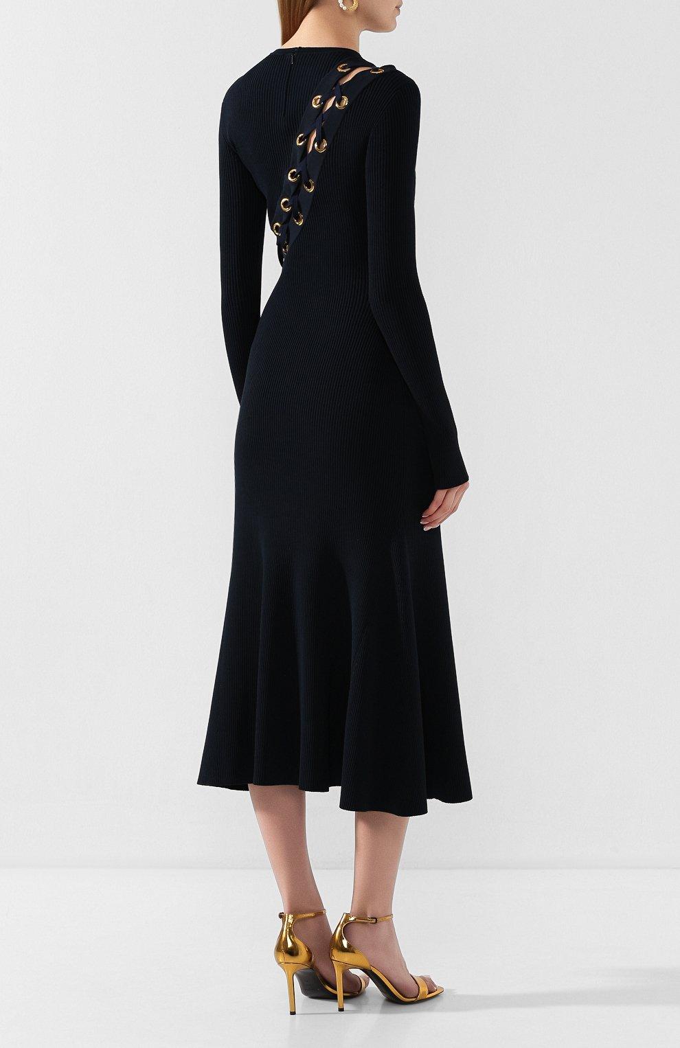 Женское платье ALEXANDER MCQUEEN темно-синего цвета, арт. 623579/Q1A0X | Фото 4