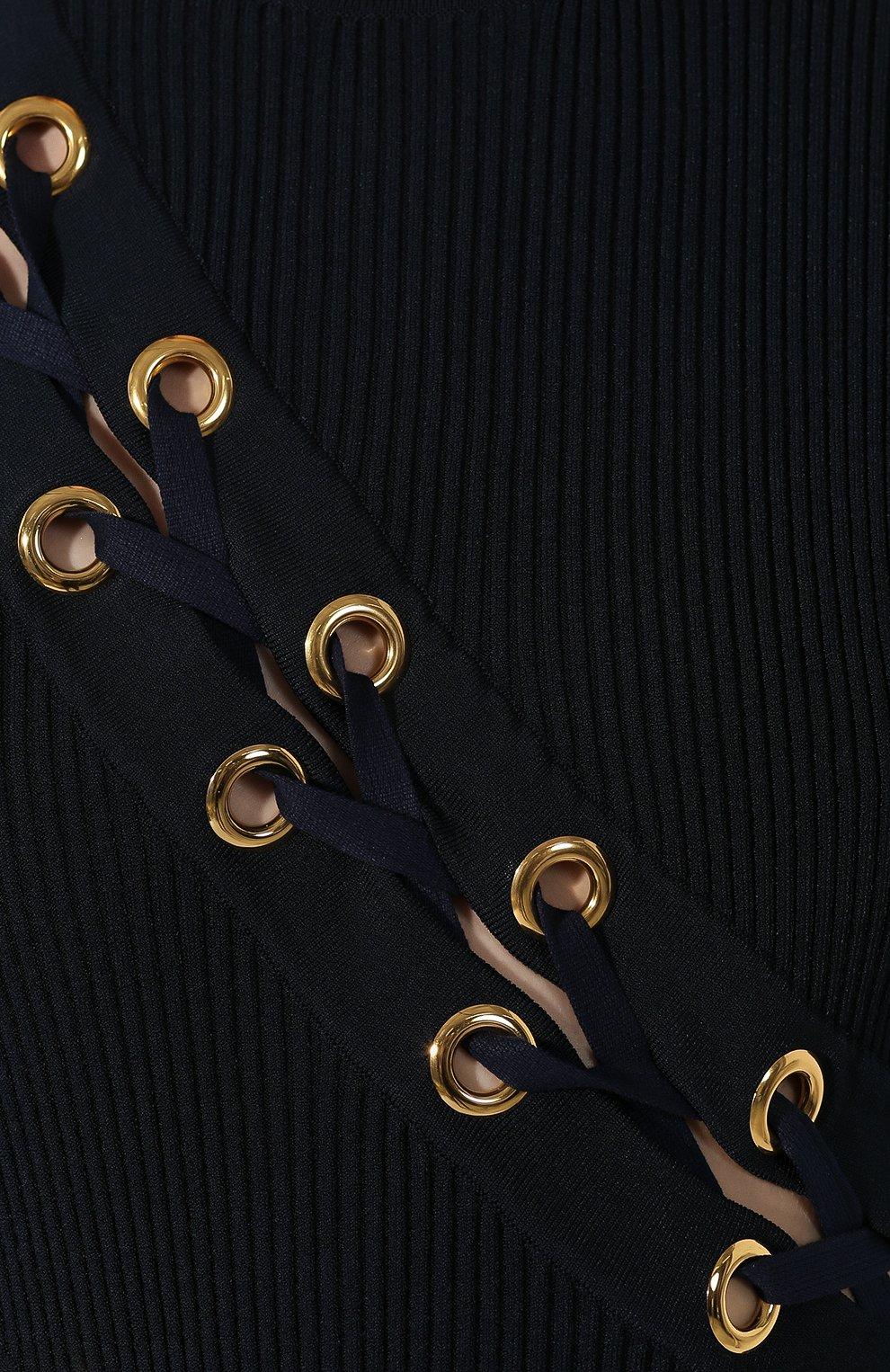 Женское платье ALEXANDER MCQUEEN темно-синего цвета, арт. 623579/Q1A0X | Фото 5