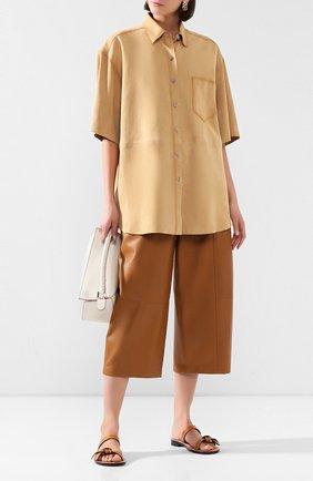 Женские кожаные шлепанцы LOEWE светло-коричневого цвета, арт. 453.10.636   Фото 2