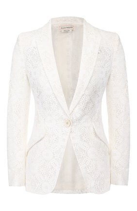 Женский хлопковый жакет ALEXANDER MCQUEEN белого цвета, арт. 620224/QEABP | Фото 1
