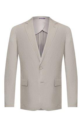 Мужской пиджак из шелка и льна RALPH LAUREN светло-серого цвета, арт. 798794546 | Фото 1