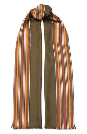 Женская шаль из смеси шелка и кашемира LORO PIANA хаки цвета, арт. FAI2568 | Фото 1