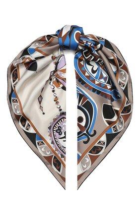 Женский шелковый платок EMILIO PUCCI коричневого цвета, арт. 0HGB42/0HN42 | Фото 1