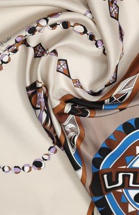 Женский шелковый платок EMILIO PUCCI коричневого цвета, арт. 0HGB42/0HN42 | Фото 2
