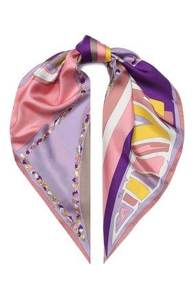 Женский шелковый платок EMILIO PUCCI фиолетового цвета, арт. 0HGB52/0HC52 | Фото 1