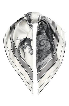 Женский шелковый платок BURBERRY черно-белого цвета, арт. 8027562 | Фото 1