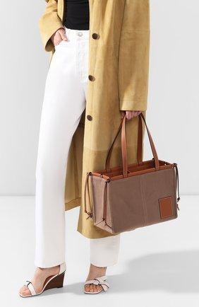 Женский сумка-тоут cushion loewe x paula's ibiza LOEWE светло-коричневого цвета, арт. 330.02AA93   Фото 2 (Сумки-технические: Сумки-шопперы; Материал: Текстиль; Размер: medium)