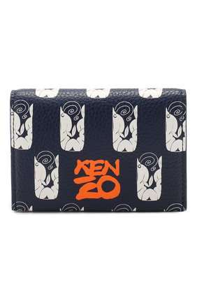 Женский кожаный футляр для кредитных карт KENZO темно-синего цвета, арт. FA55PM901L41 | Фото 1
