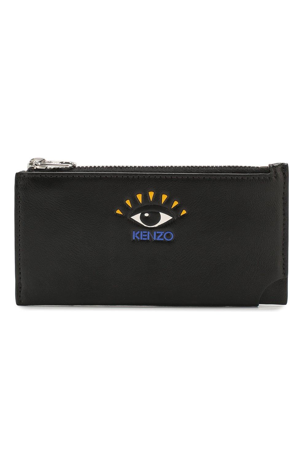 Женский кожаный футляр для кредитных карт KENZO черного цвета, арт. FA55PM706L37   Фото 1