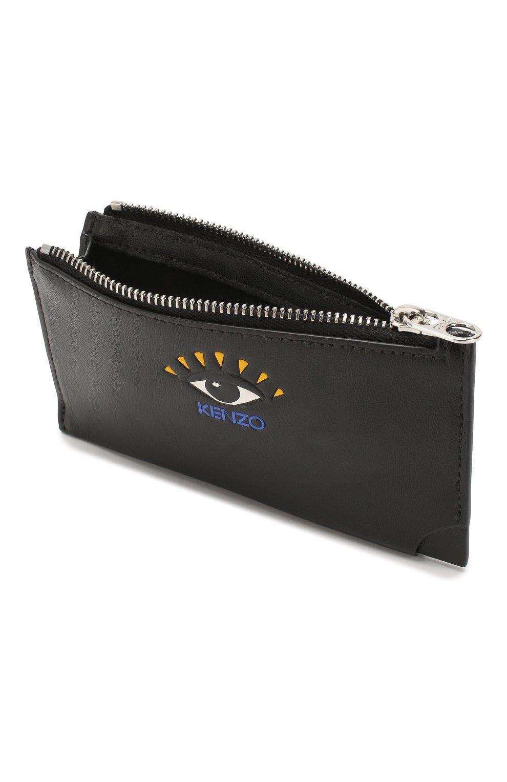 Женский кожаный футляр для кредитных карт KENZO черного цвета, арт. FA55PM706L37   Фото 3