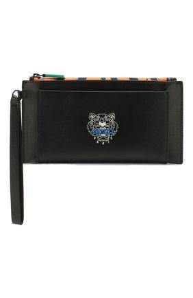 Женские кожаный кошелек KENZO черного цвета, арт. FA55PM311L48   Фото 1