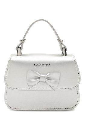 Детская кожаная сумка MONNALISA серебряного цвета, арт. 175BAS | Фото 1