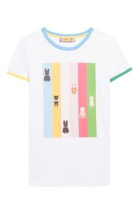 Детская хлопковая футболка MUMOFSIX разноцветного цвета, арт. MOS20STP_09 | Фото 1