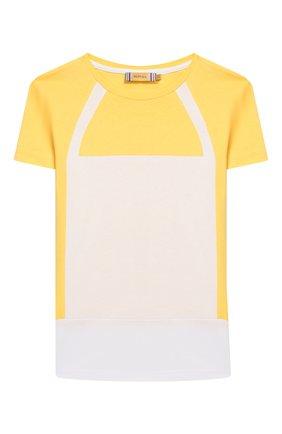 Детская хлопковая футболка MUMOFSIX желтого цвета, арт. MOS20STP_01YE | Фото 1