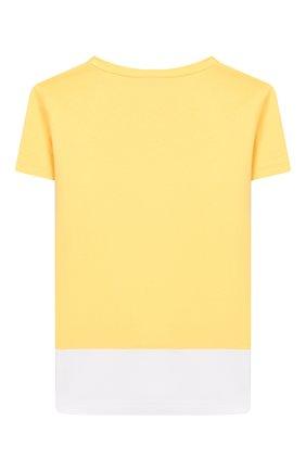 Детская хлопковая футболка MUMOFSIX желтого цвета, арт. MOS20STP_01YE | Фото 2