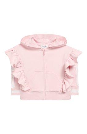 Детский хлопковая толстовка MONNALISA розового цвета, арт. 395800R6 | Фото 1