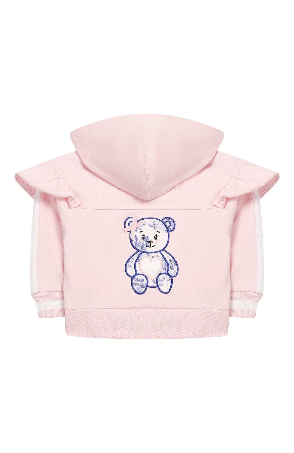 Детский хлопковая толстовка MONNALISA розового цвета, арт. 395800R6 | Фото 2