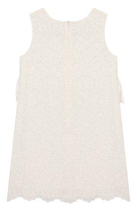 Детское хлопковое платье CHARABIA белого цвета, арт. S12059 | Фото 2 (Принт: Без принта; Рукава: Короткие; Материал внешний: Хлопок; Ростовка одежда: 6 лет | 116 см, 8 лет | 128 см)