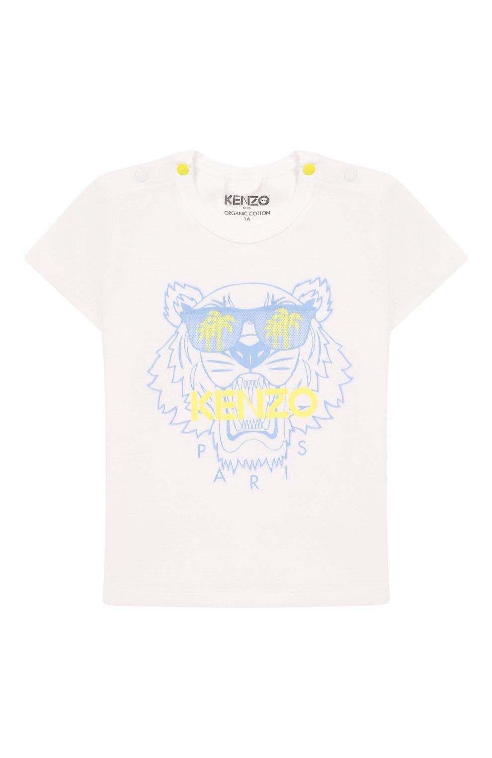 Детский хлопковая футболка KENZO белого цвета, арт. KQ10533   Фото 1