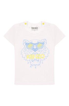 Детский хлопковая футболка KENZO белого цвета, арт. KQ10533 | Фото 1
