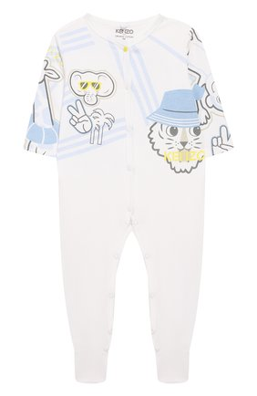 Детский хлопковая пижама KENZO белого цвета, арт. KQ54503 | Фото 1