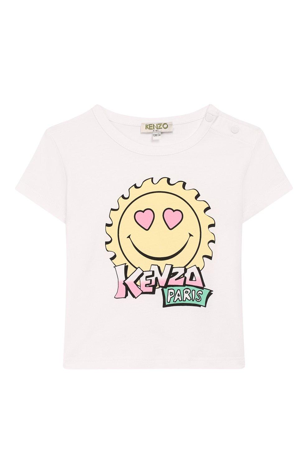 Детский хлопковая футболка KENZO белого цвета, арт. KQ10037   Фото 1